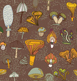 Seamless pattern of different mushrooms vector image