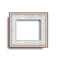 Silver frame with ornament isolated on white vector image