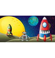 A robot between two spaceships at the outerspace vector image vector image