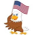Eagle cartoon holding American flag vector image