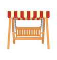 Garden wooden swing with striped awning vector image