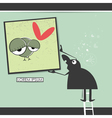 Character in museum with bird in frame vector image