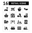 Set icons of retail and supermarket equipment vector image