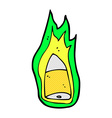 comic cartoon flaming bullet vector image