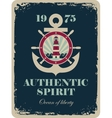 banner with an anchor and a ship steering vector image