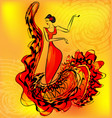 figure of flamenco dancer and music vector image