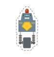 robot with siren sign warning cutting line vector image