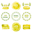 Set of hand drawn watercolor eco labels vector image