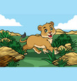 young lion walking in the jungle vector image