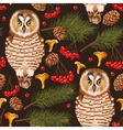 Seamless owl in the forest vector image