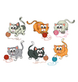 Cats playing with wool vector image vector image