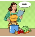 Pop Art Housewife Cooking Soup in the Kitchen vector image vector image