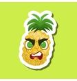 PineappleAngry Cute Emoji Sticker On Green vector image