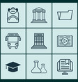 Set of 9 education icons includes academy vector image