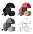 round hay bales modern agricultural machinery for vector image