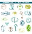 Set of Rubber Stamps - Antique Keys and Locks vector image vector image