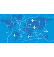 Airplanes traces over the world map vector image
