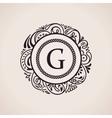 Calligraphic floral baroque monogram Emblem vector image vector image
