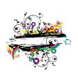 colorful grunge floral frame vector image vector image