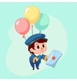 Postman delivery mail Friendly post man in blue vector image
