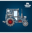 Tractor silhouette with mechanical parts icon vector image