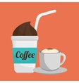 two cup coffee fresh and hot graphic vector image