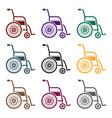 wheelchair icon in black style isolated on white vector image