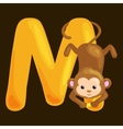 letter M with animal monkey for kids abc education vector image