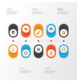 music flat icons set collection of male ear vector image
