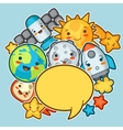 Kawaii space background Doodles with pretty vector image