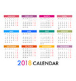 calendar for 2018 template design week starts vector image