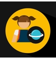 girl uniform school science physics icon vector image