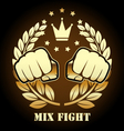 Mix fight competition emblem with two fists vector image