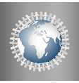 Paper People Holding Hands Around Globe vector image