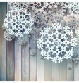 Snowflakes hanging over wooden EPS 10 vector image