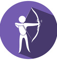 Sport icon design for archery on round badge vector image