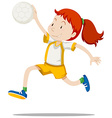 Woman athlete playing handball vector image