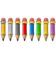 Cartoon set of cool color wooden pencils vector image