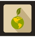 Globe with green leaf icon flat style vector image