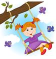 girl on swing on tree branch vector image