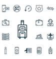 set of 16 travel icons includes operator vector image