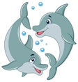 Cute dolphin couple cartoon vector image