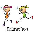 A marathon between two stickmen vector image vector image