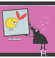 Character in museum with bird in frame vector image vector image