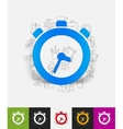 watch paper sticker with hand drawn elements vector image