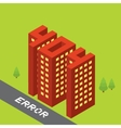 Isometric error 404 buildings isolated vector image