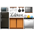 Kitchen full of equipment and furnitures vector image