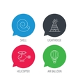 Lighthouse air balloon and helicopter icons vector image