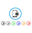 lock smartphone rounded icon vector image