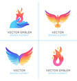 Phoenix birds and fire icons vector image